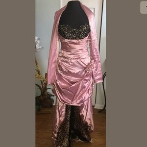 Cinderella Pink Cheetah Hi Low prom party size 6